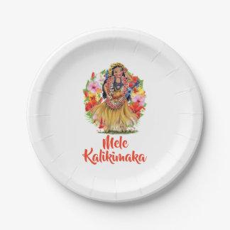 Assiettes En Papier Joyeux Noël de Mele Kalikimaka Hawaain