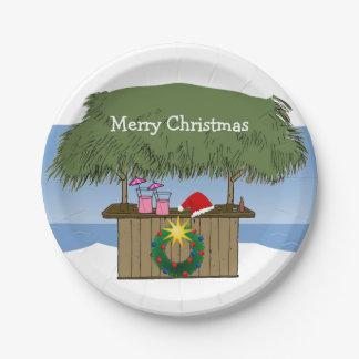Assiettes En Papier Joyeux Noël d'île de Tiki de barre tropicale de