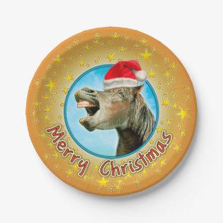 Assiettes En Papier Joyeux Noël du cheval riant