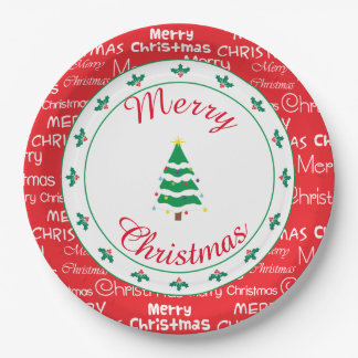 Assiettes En Papier Joyeux Noël et arbre de Noël