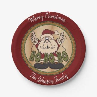 Assiettes En Papier Joyeux Noël Père Noël de style campagnard
