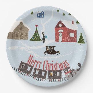 Assiettes En Papier Joyeux Noël, rétro