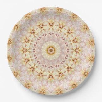 Assiettes En Papier Kaléidoscope floral d'art de mandala de rose et de