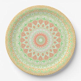 Assiettes En Papier Kaléidoscope orange et vert lumineux d'été