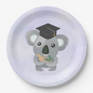 Assiettes En Papier Koala mignon dans un casquette d'obtention du