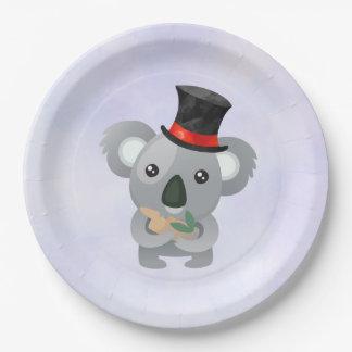 Assiettes En Papier Koala mignon dans un casquette supérieur noir