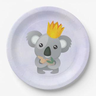 Assiettes En Papier Koala mignon dans une couronne d'or