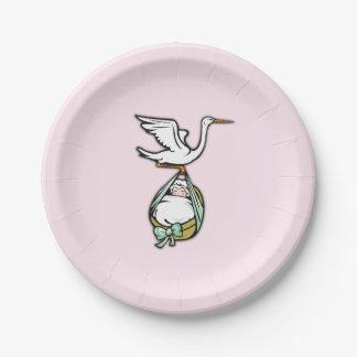 Assiettes En Papier La cigogne porte un bébé