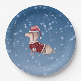 Assiettes En Papier La fête de Noël plaque le chien de teckel