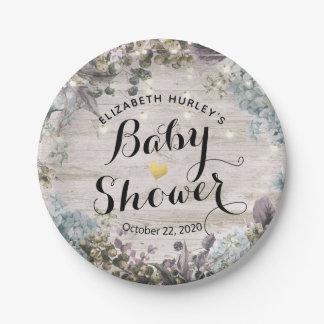 Assiettes En Papier La ficelle florale chic de baby shower allume le