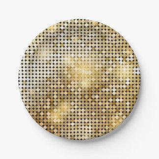 Assiettes En Papier La paillette d'or de scintillement lumineuse