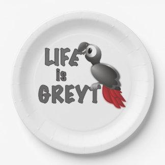 Assiettes En Papier La vie est Greyt - grand perroquet de gris