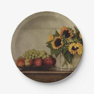 Assiettes En Papier La vie toujours, tournesols dans le vase, fruit