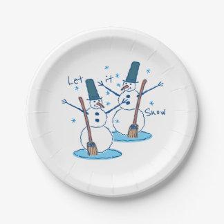 Assiettes En Papier Laissez lui neiger bonhommes de neige