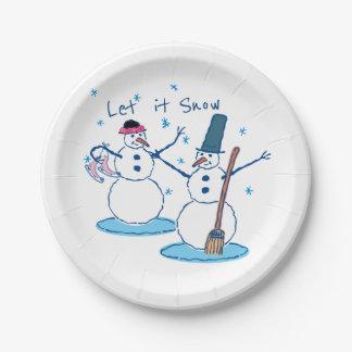 Assiettes En Papier Laissez lui neiger Snowlady et son bonhomme de