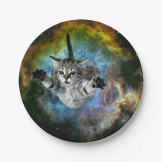 Assiettes En Papier Lancement de chaton d'univers de chat de galaxie