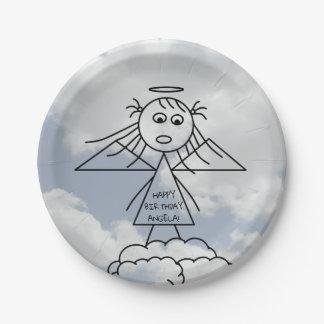 Assiettes En Papier L'ange mignon de bâton sur des nuages a