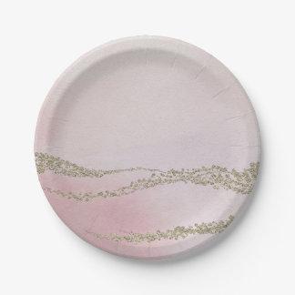 Assiettes En Papier L'aquarelle élégante inondée rougissent dedans