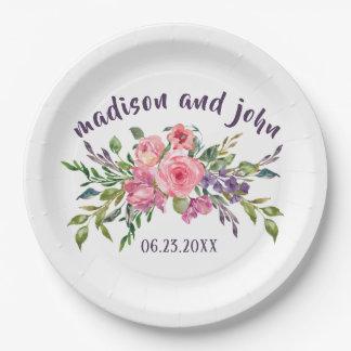 Assiettes En Papier Lavande de jeune mariée et de marié et bouquet