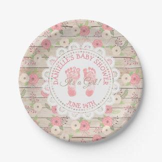 Assiettes En Papier Le bois rustique et les fleurs roses durcissent