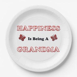 Assiettes En Papier Le bonheur est une grand-maman