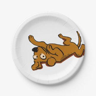 Assiettes En Papier Le chien heureux de bande dessinée se couche