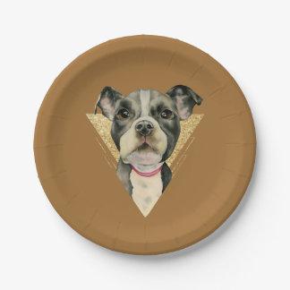 """Assiettes En Papier Le """"chiot observe"""" l'aquarelle de chien de pitbull"""