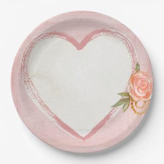 Assiettes En Papier Le coeur rose d'aquarelle et s'est levé