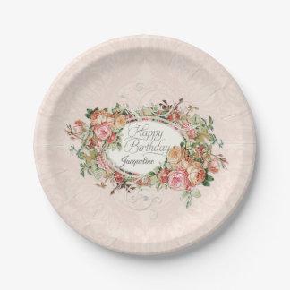 Assiettes En Papier Le cru élégant rougissent damassé rose de bouquet