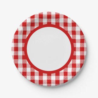Assiettes En Papier Le guingan rouge et le blanc vérifie la partie de