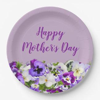 Assiettes En Papier Le jour de mère heureux floral pourpre