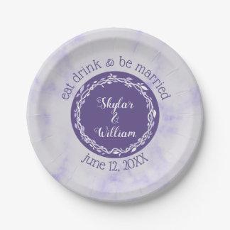 Assiettes En Papier Le mariage ultra-violet mangent la boisson et
