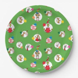 Assiettes En Papier Le motif de point de Noël de Grinch  