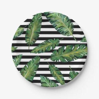 Assiettes En Papier Le noir barre le motif tropical d'été de feuille