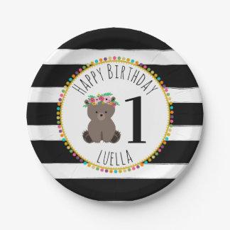 Assiettes En Papier Le pompon d'ours barre l'anniversaire