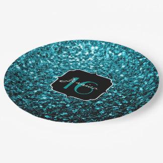 Assiettes En Papier Le scintillement bleu de bel Aqua miroite le