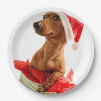Assiettes En Papier Le teckel père Noël - le chien de père Noël -