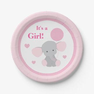 Assiettes En Papier L'éléphant gris de rose de baby shower de fille