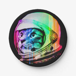 Assiettes En Papier les chats colorés - astronaute de chat - espacent