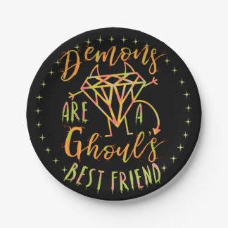 Assiettes En Papier Les démons drôles de Halloween sont un meilleur