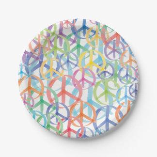 Assiettes En Papier Les nombreuses couleurs des signes de paix
