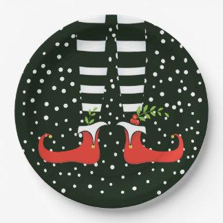 Assiettes En Papier Les plaques à papier de fête de Noël GRANDE d'Elf