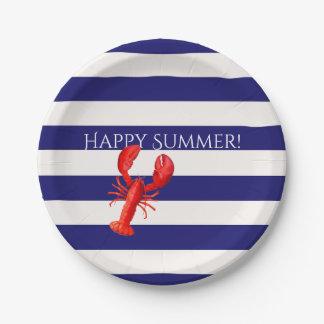 Assiettes En Papier L'été heureux bleu et le blanc barre le homard