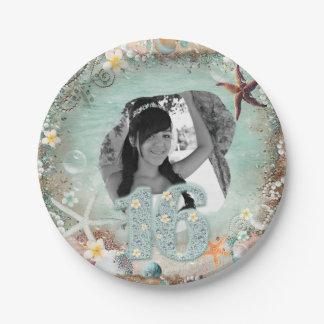 Assiettes En Papier L'étoile de mer élégante de mer de plage perle la