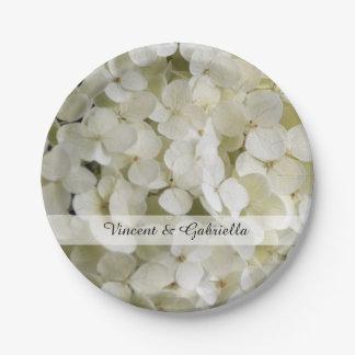 Assiettes En Papier L'hortensia blanc fleurit le mariage