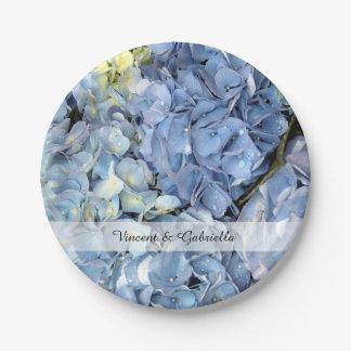 Assiettes En Papier L'hortensia bleu fleurit le mariage