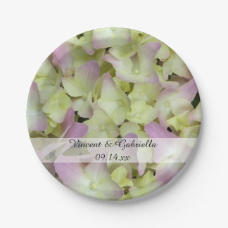 Assiettes En Papier L'hortensia presque rose fleurit le mariage
