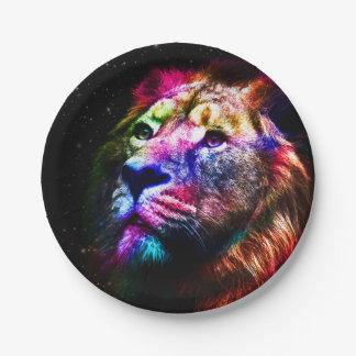 Assiettes En Papier Lion de l'espace - lion coloré - art de lion -