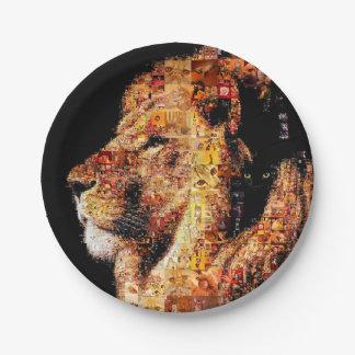 Assiettes En Papier Lion sauvage - collage de lion - mosaïque de lion