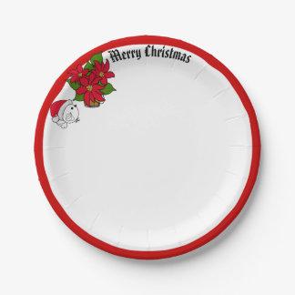 Assiettes En Papier L'oiseau et les poinsettias de Père Noël